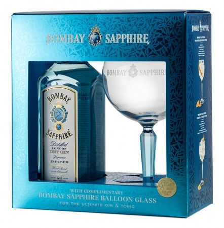 BOMBAY SAPPHIRE GIN 40% 70CL giftpack GLAS