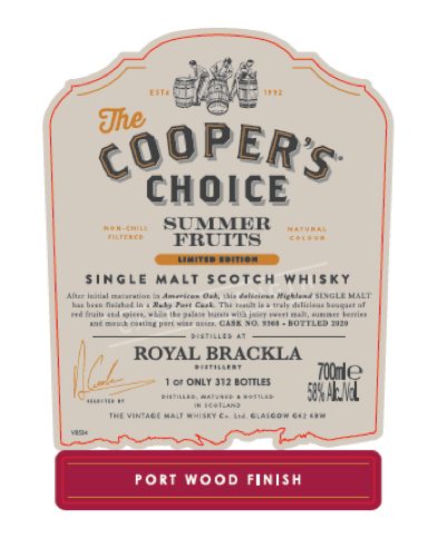 """Coopers Choice ROYAL BRACKLA """"SUMMER & FRUITS"""" 58%"""
